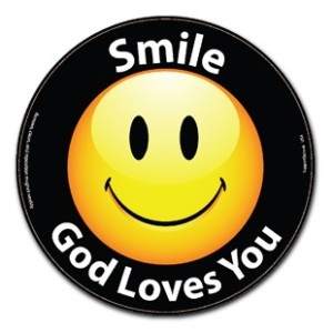 smile-god-loves-you-car-magnet